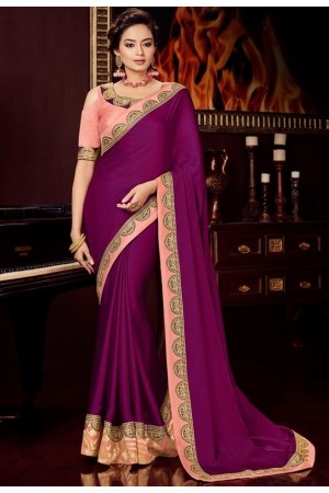 magenta silk saree with embroidered blouse 10406