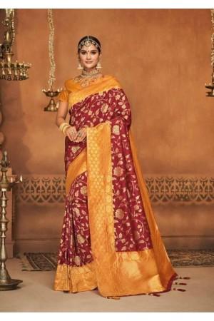 maroon silk jacquard saree 988
