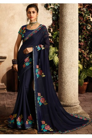 midnight blue saree with embroidered blouse 6163