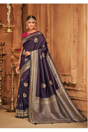 midnight blue silk jacquard saree 984a