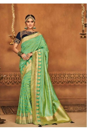 mint green silk jacquard saree 985b