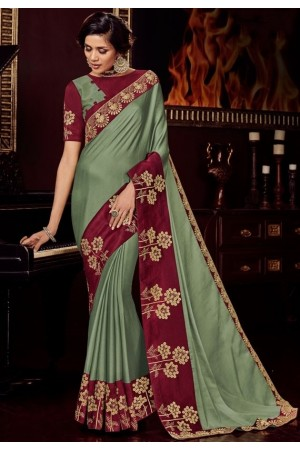 moss green satin saree with embroidered blouse 10403