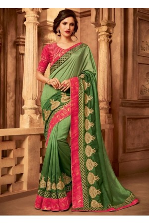 olive green designer silk saree 2315