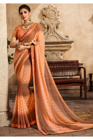 peach and brown saree with embroidered blouse 6160