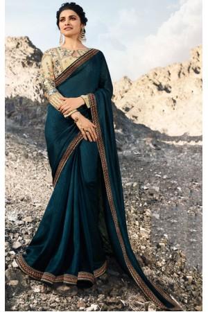 prachi desai peacock blue silk saree 20671