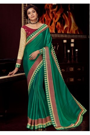 rama green silk saree with embroidered blouse 10409
