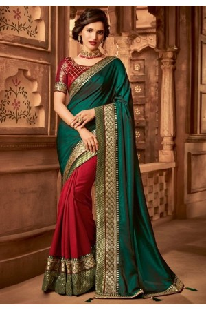 scarlet red and pine green designer silk saree 2310