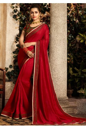scarlet red saree with embroidered blouse 6167