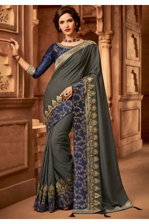 slate grey designer silk saree 2306