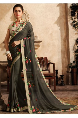 slate grey saree with embroidered blouse 6161