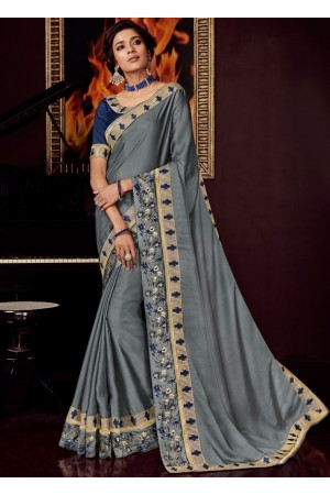 smoke grey satin saree with embroidered blouse 10407