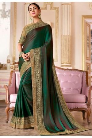 sonal chauhan bottle green saree RG105189
