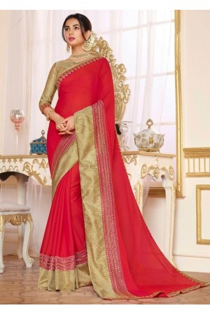 sonal chauhan carmine red saree RG105192