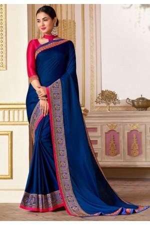 sonal chauhan royal blue saree RG105188