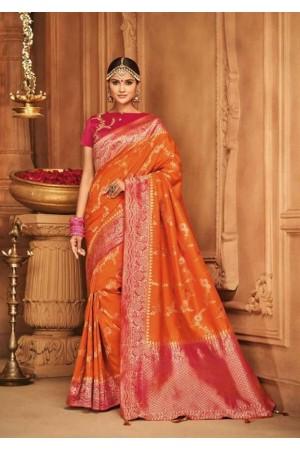 tangerine silk jacquard saree 987