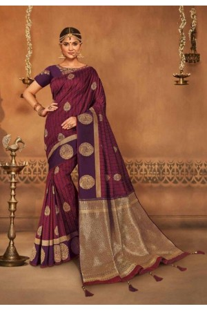 wine and plum silk jacquard saree 991