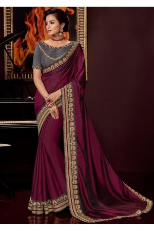 wine satin saree with embroidered blouse 10412