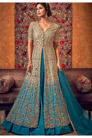 beige blue net embroidered lehenga style anarkali suit 6507