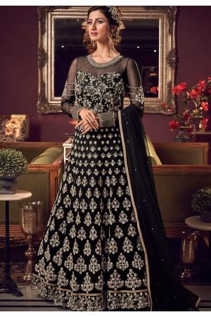 black net embroidered floor length anarkali suit 6512