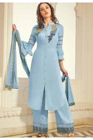 blue muslin embroidered palazzo suit 11001