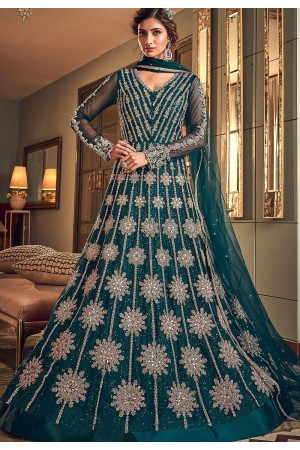blue net embroidered floor length anarkali suit 6502