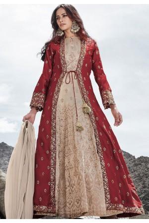 cream maroon silk embroidered long jacket style anarkali suit 83003