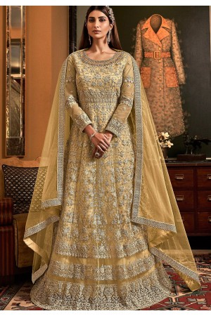 cream net embroidered floor length anarkali suit 6503