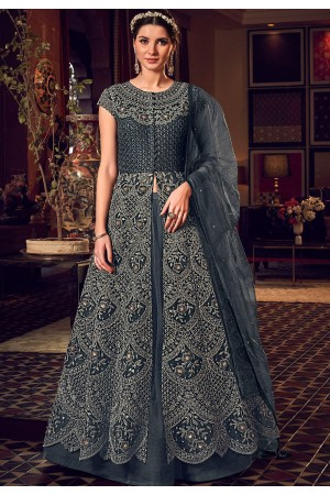 dark grey net embroidered floor length lehenga anarkali suit 6508