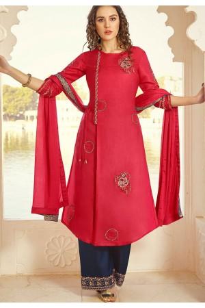 dark pink art silk embroidered palazzo suit 11004