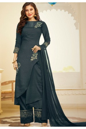 grey art silk embroidered palazzo suit 11005
