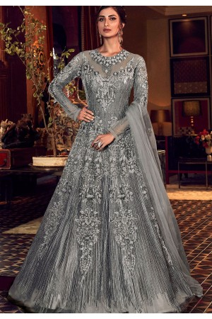grey net embroidered floor length lehenga anarkali suit 6506