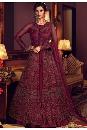 maroon net embroidered floor length lehenga anarkali suit 6510