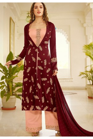 maroon pink embroidered palazzo suit 11002