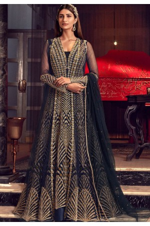 navy blue net embroidered floor length anarkali suit 6504