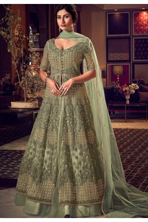pastel green net embroidered floor length lehenga anarkali suit 6511