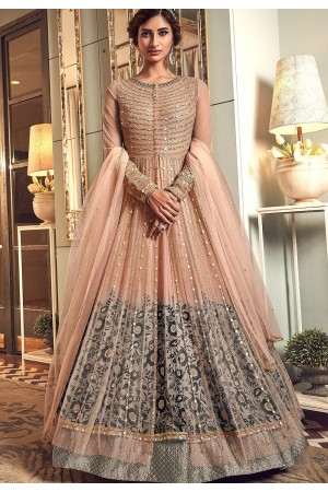 peach net embroidered floor length anarkali suit 6501