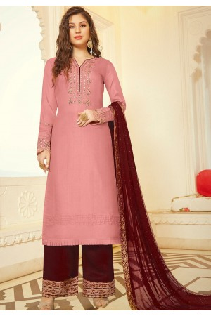 pink art silk embroidered palazzo suit 11006
