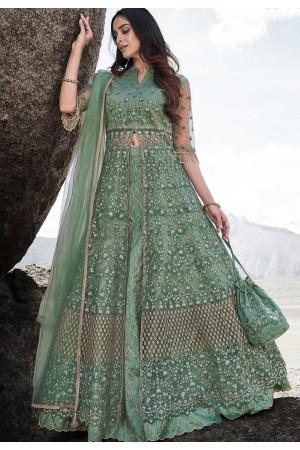sea green net embroidered lehenga style anarkali suit 83002