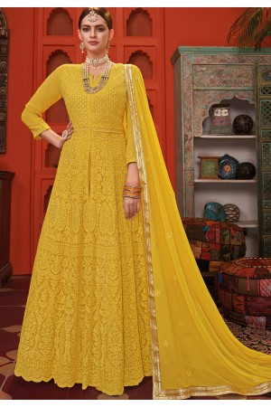 yellow georgette embroidered front slit long anarkali suit 1001