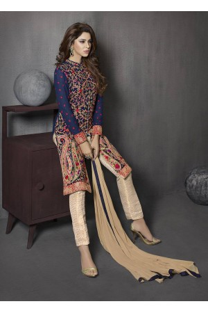 Blue and beige color georgette and jacquard party wear salwar kameez