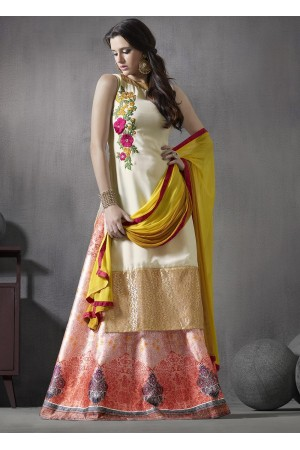White and pink color georgette and silk party wear 2 in 1 style suit