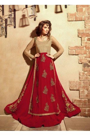 Red and beige color georgette and net  party wear anarkali suit