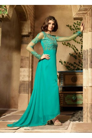 Turquoise green color georgette party wear anarkali suit