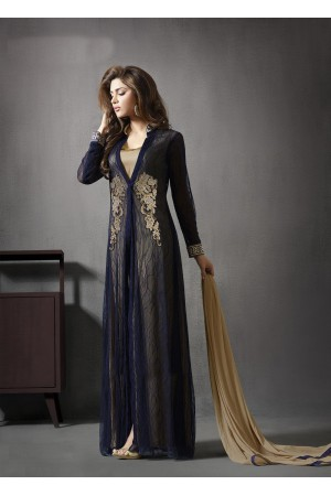 Dark blue color georgette and  satin party wear salwar kameez