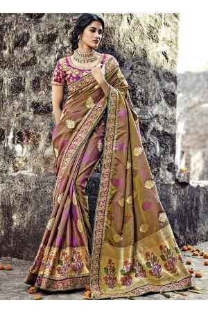 Brown and purple Pure Banarasi Silk wedding wear saree