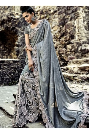 Grey color imported pallu and net wedding wear saree