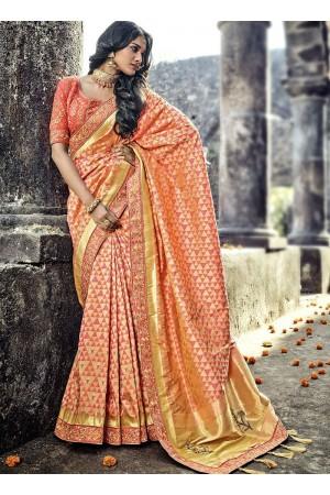 Peach color Pure Banarasi Silk wedding wear saree