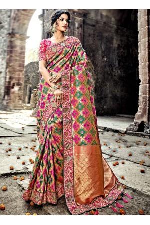 Pink and green Pure Banarasi Silk wedding wear saree