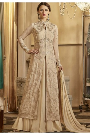 Beige color georgette party wear lehenga kameez