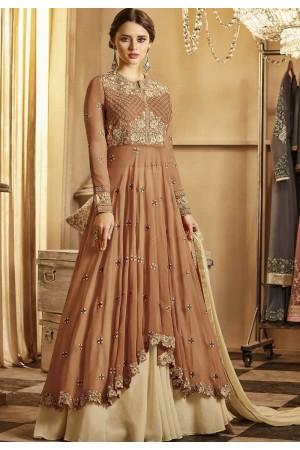 Brown and beige color georgette party wear lehenga kameez